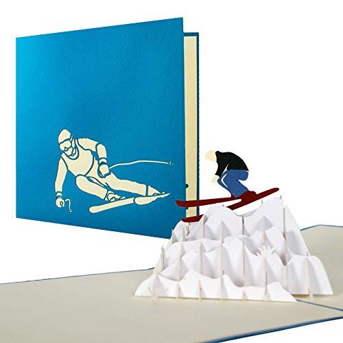 Geburtstagskarte für Skifahrer, Gutschein für eine Skireise, Wintersport, Ski Gutscheinkarte, Glückwunschkarte, Skifahrer in Pop-Up-Karte, H10