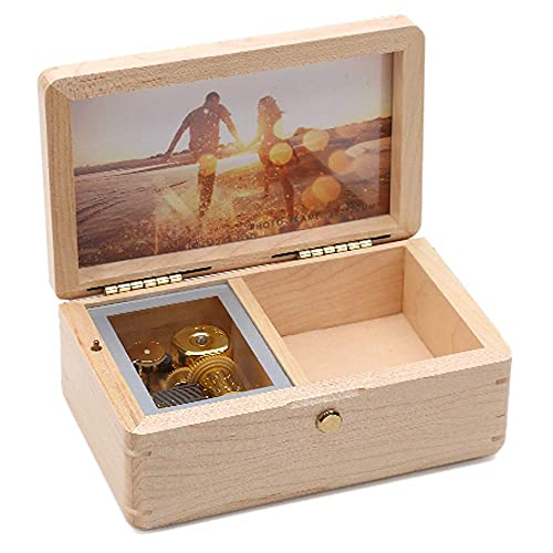 SOFTALK Vintage Square Jewelry Box -Natural Wood Musical Boxs with Customizable Photos Wind Up Decorative Box Keepsake Gift Box Case for Gifts for Christmas,Birthday and Valentine's Day Tune : An...