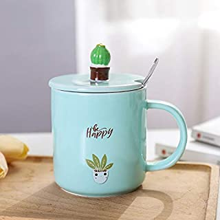 HMKZXQ Cactus Milk Mugs 360Ml Women Coffee Cup With Spoon Lid Home Tea Water Ceramic Tumblers