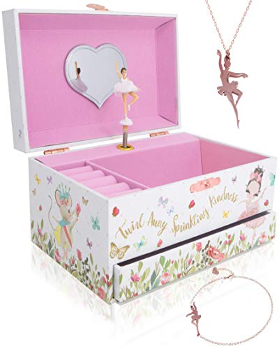 The Memory Building Company Musical Ballerina Jewelry Box for Girls & Little Girls Jewelry Set - 3 Dancer Gifts for Girls…