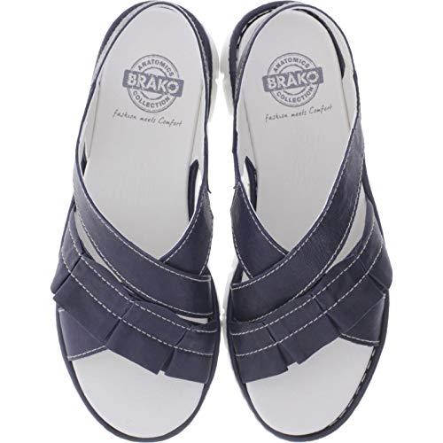 Brako / Modell: 2502 Shey/Marino Blau Leder/Wechselfußbett/Damen Sandalen (40 EU)
