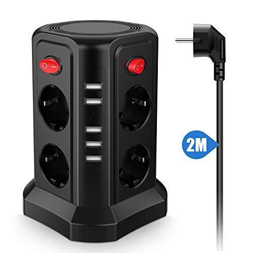 KinCam 8 Fach Steckdosenleiste Steckdosenturm (2500W/10A) 5 USB Ladeanschlüsse Mehrfachsteckdose Steckerleiste Mehrfachstecker Überspannungsschutz und Kurzschlussschutz (mit 4 Schalter und 2m Kabel)
