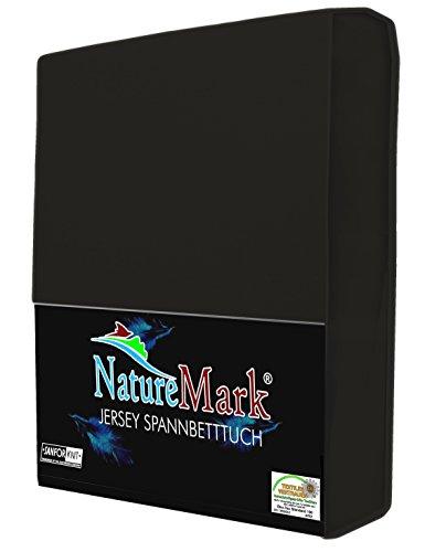NatureMark Spannbettlaken Jersey alle Größen 22 Farben, Spannbetttuch 90x200 bis 100x200 cm, Farbe Schwarz