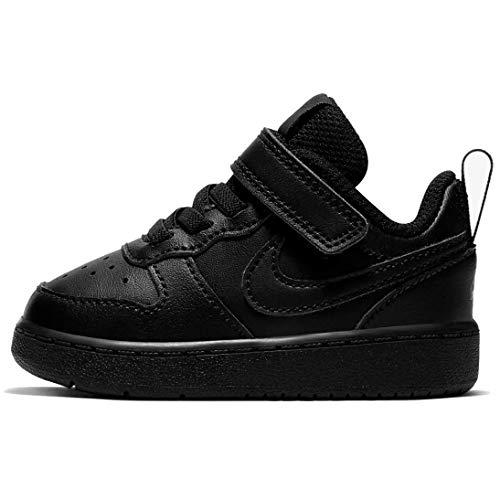Nike Baby-Boys Court Borough Low 2 (TDV) Sneaker, Black/Black-Black, 17 EU