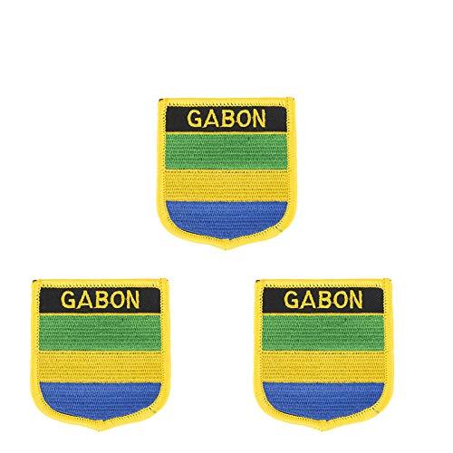 Aufnäher mit Gabun-Flagge, bestickt, Schild-Form, zum Aufbügeln oder Aufnähen, 3 Stück