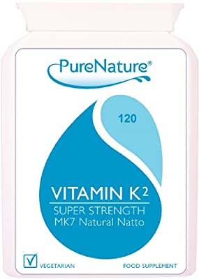 Vitamin K2 MK-7 Derived from Natural Natto 100mcg Highest Strength and Quality UK manufactured to Premium standards 120 Slow Release Vegetarian Capsules non-GMO, organic, allergen-free, and a stable fermentation process|100% Quality Assured Money Back Gua