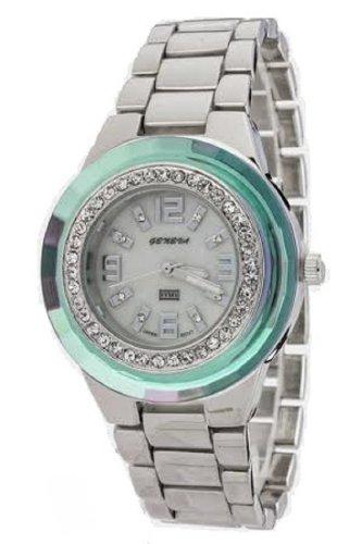 Geneva Women's Crystal Bezel Metal Watch. -  CBE-8823