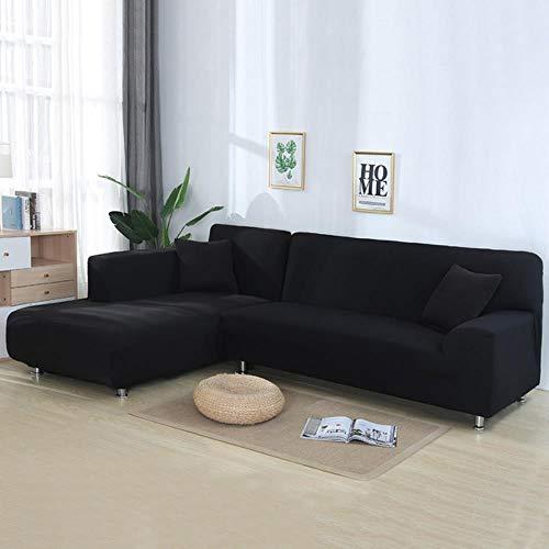 YYBF Fundas para sofá de Esquina Sofá en Forma de L Sala de Estar Sofá Chaise Longue seccional Spandex Funda de sofá Deslizante Fundas de sofá elástico 2 Piezas, Negro A, 1 Asiento y 3 plazas