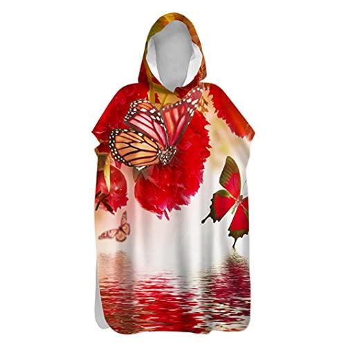 Fansu Serviette de Poncho à Capuche Microfibre Peignoir Serviette De Séchage Rapide for Adultes Plage Plongée Serviettes de Bain à Capuchon Bain de Plage Surf (Papillon Rouge,80x145cm)
