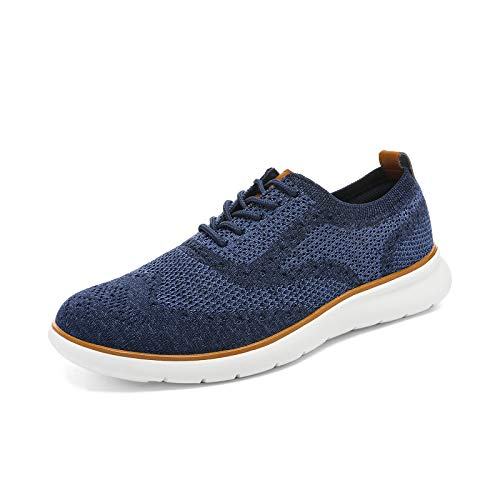 Bruno Marc Men's Mesh Fabric Fashion Sneakers Casual Wingtip Oxfords Lightweight Breathable Walking Shoes for Men Dark Blue Size 10.5 US Zero-02