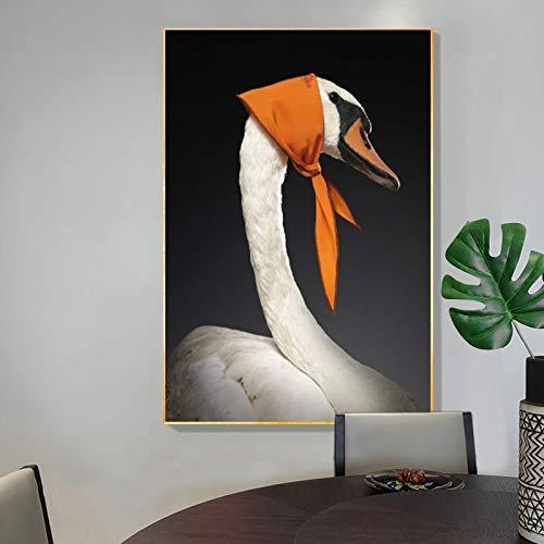 wZUN Divertido Cisne Pintura en Lienzo Arte Mural Carteles e