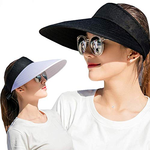 2PCS Wide Brim Sun Visor Hat Women Large UV Protective Golf Beach Cap Design in Korea