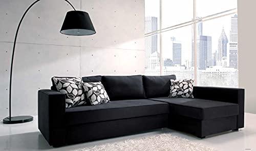 Composición moderna con chaise longue DX en tejido negro transformable en cama y chaise longue arcón
