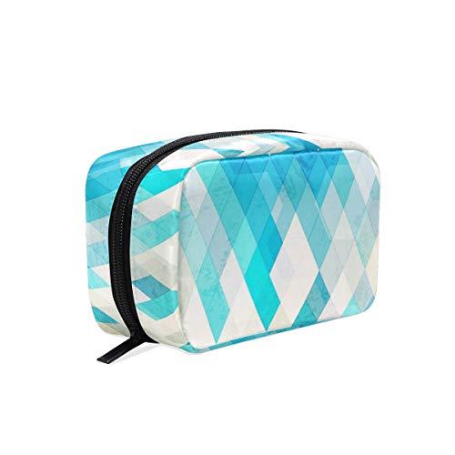Lafle Trousse de maquillage carrée en sergé Motif losanges Bleu 16,5 x 2,5 x 10 cm