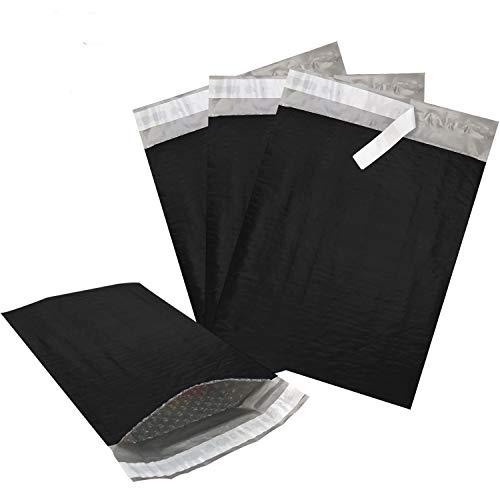 MIK Supplies 100 Pack Padded Poly Bubble Mailer Envelopes, Self-Adhesive Shipping Bags, Waterproof and Tear Resistant, (Black, 8.5x12/ 100 Pack)