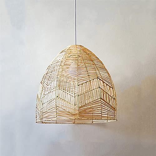 Lámpara colgante colgante bambú moderna Accesorios E27 Luces colgantes Mimbre Rattan Wave Lámpara colgante Comedor Restaurante Cocina Accesorio suspensión Café Decor hogar Iluminación interior campo