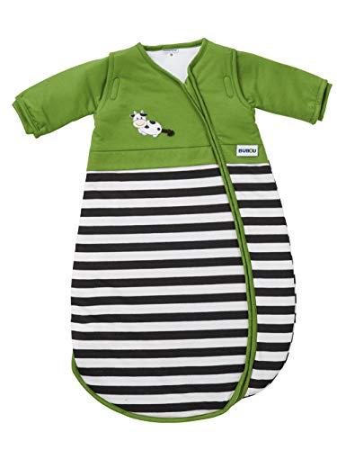 Gesslein 773154 Bubou - Saco de dormir para bebé con mangas desmontables (regulador de temperatura, para todo el año, 110 cm, con vaca, verde, 540 g)
