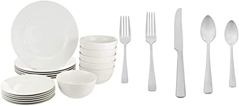 AmazonBasics 18-Piece White Kitchen Dinnerware Set, Dishes, Bowls, Service for 6 & 20-Piece Stainless Steel Flatware Silve...