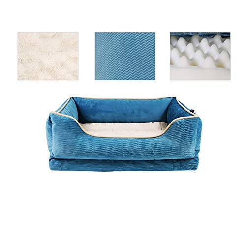 LZC Plush Donut Pet Bed, Medium-sized dog bed easy to clean Square pillow/nest pet bed with removable cover (Color : Blue)