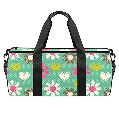 Grande borsa da viaggio borsa sportiva borsa a tracolla weekender borsa per donna e uomo fiori bianchi, Motivo floreale colorato., 45x23x23cm/17.7x9x9in,