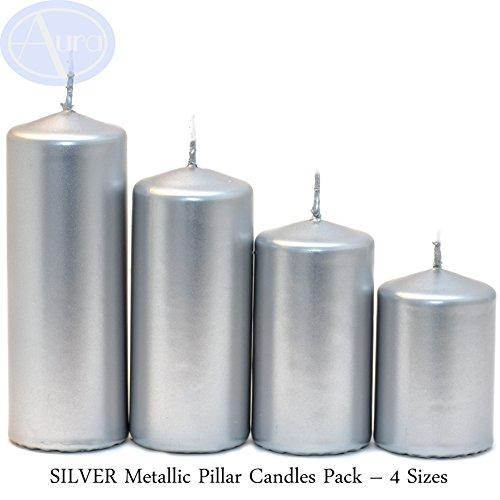 Aura Velas metálicas Plateadas Pilar - 4 Tamaños (50 mm de Ancho)
