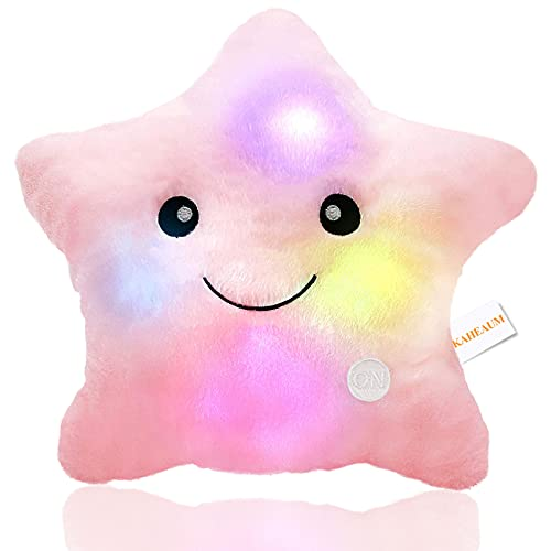 KAHEAUM Kids Throw Pillows,LED Lights Star Throw Pillow Gifts for Child Baby Birthday Teen Decorative Throw Pillows Cute Plush Toys Girls Doll Pink Throw Pillows for Couch Living/Bed Room Home Office
