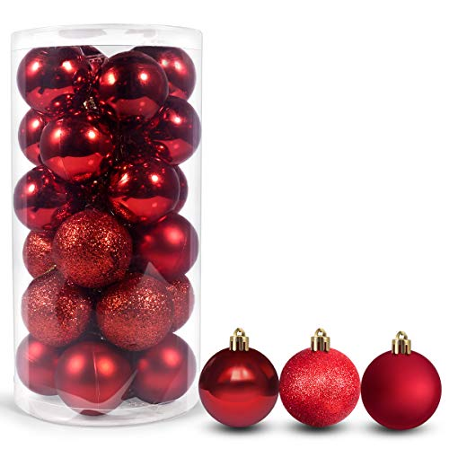 Gracejoful 24Pcs Christmas Ball Ornaments for Xmas Tree,Red Shatterproof Christmas Decorations Hanging Ball for Holiday Party Decoration