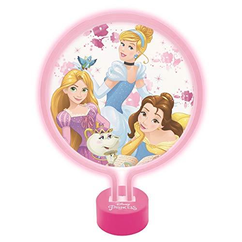 Lexibook Neon Disney Princess, Lampada da Notte Kid Bedroom, Colore Luce Decorativa di Tendenza per Ragazze con Cenerentola, Bella e Rapunzel, ROSEO