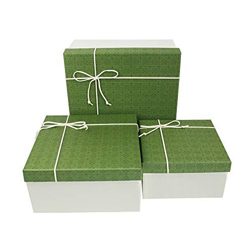 Emartbuy Conjunto de 3 Rígido Lujo Forma Cuadrada Presentación de Caja de Regalo, Caja Blanca Con Tapa Verde, Interior Marrón Chocolate y Lazo Decorativo con Cinta de Gamuza