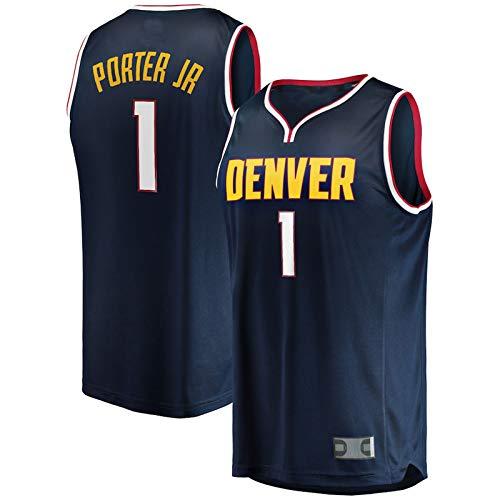 Navy - #1 Men's MichaelPorterJr. Basketball Jersey DenverNuggets 2020/21 Fast Cool Breathable Fabric Break Replica Vest Jersey