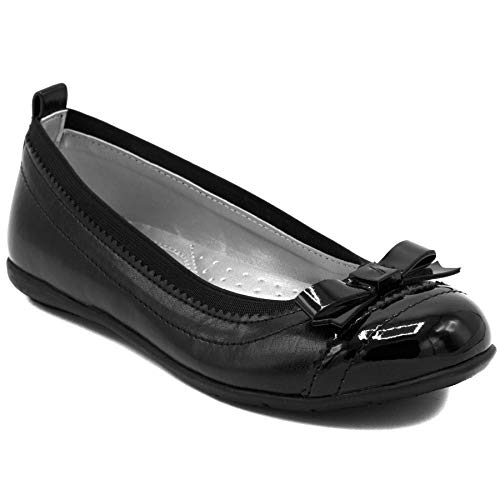 Nautica Girls Front Bow Flat Mary Jane Oxford School Shoe-Lunette-Black-5