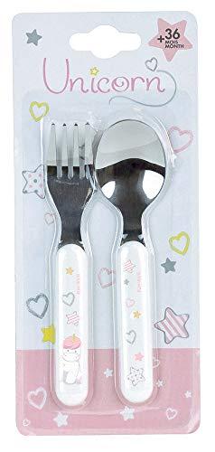FUN HOUSE 005686 Licorne Set de Couvert Comprenant 1 Fourchette et 1 cuillère pour Enfant