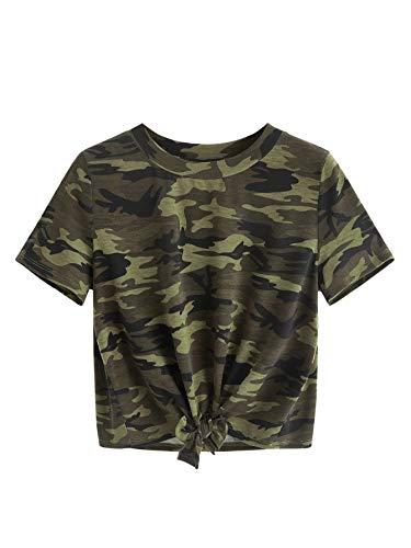 SweatyRocks Women's Short Sleeve Tie Dye Tie Hem Summer Crop T-Shirt Tops Blouse Camo Medium