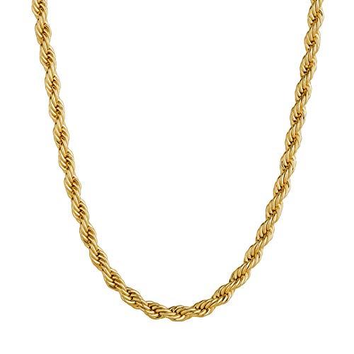 KRKC&CO 3mm Rope Kette 18K Gold beschichtet Kordelkette Herren Gold Halskette Damen Gold Rope Halskette Herren Zopfkette Hip Hop Halskette Schmuck für Herren Damen Größe 51 56 61 cm