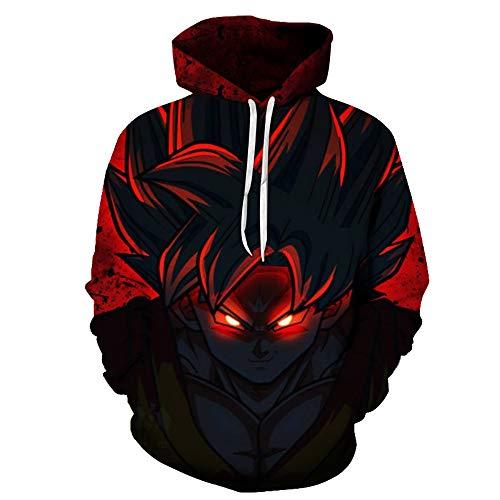 Lichee Boys/Mens 3D Dragon Ball Z Hoodies Printed Vegeta Pullovers Sportswear Sweatshirts Cosplay Costume (X-Large, 124G)