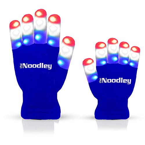 The Noodley Flashing LED Finger Light Gloves July 4th Toys - Kids and Teen Sized Ages 4-7 (Small, Blue)