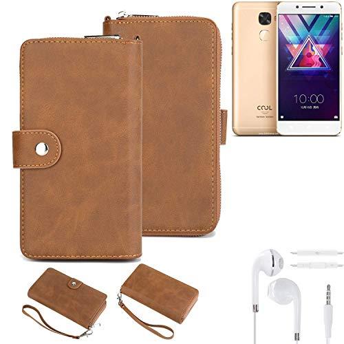 K-S-Trade Handy-Schutz-Hülle Für Coolpad Cool S1 + Kopfhörer Portemonnee Tasche Wallet-Hülle Bookstyle-Etui Braun (1x)