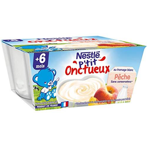 Nestlé Bébé P'tit Onctueux au Fromage Blanc Pêche - Laitage dès 6 mois - Pack de 6 ( 24 Laitages )