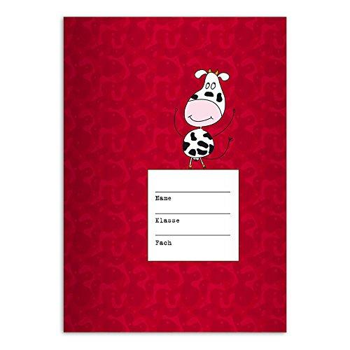 Kartenkaufrausch 4 lustige DIN A4 Schulhefte, Schreibhefte mit Tanzender Kuh, rot Lineatur 27 (liniertes Heft)