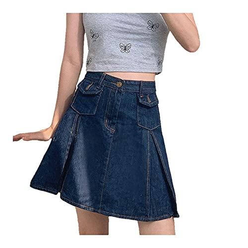N\P Faldas Mujeres Denim Mini Pliegues Retro Más Tamaño Clásico Estudiantes Verano Ocio