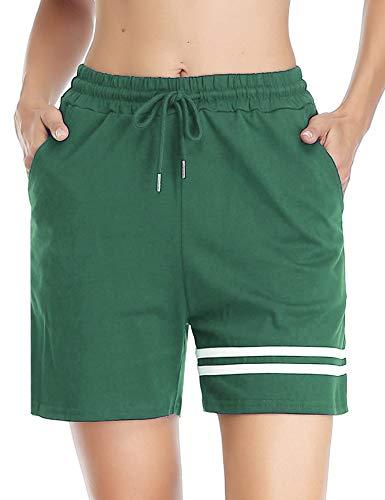 Doaraha Pantalones Corto Pijama Mujer 100% Algodón Raya Pantalones Cortos Deportivos Pantalones Corto Chandal para Fitness,Jogging