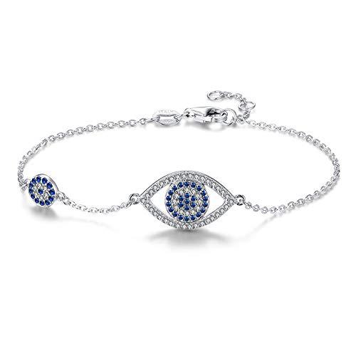 CHIY-GBC Pulsera de Ojos malignos 925 Plata esterlina Azul Piedra Principal joyería Pulseras de Enlace para Mujeres Lucky Luxury pulseira 20 cm