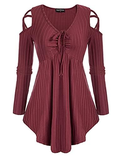 Women Lace-up V Neck Long Sleeve Tunic Tops Fall Flowy Swing Blouse Shirt Wine M