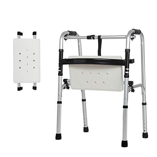 XJZHAN Klappbarer Gehrahmen Leichtes, stabiles Aluminium-Gehgerät mit drehbarem Badesitz mit Rädern und Sitz,color2,51x47x73cm