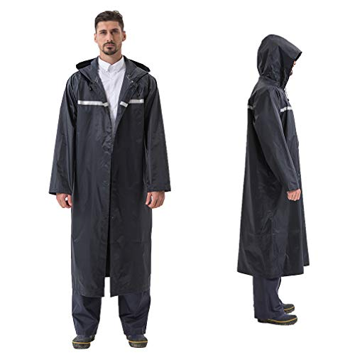 Rain Coats for Adults Rain Ponchos with Hoods and Sleeves Man Lightweight Raincoats Large Waterproof Windbreaker for Women (Navy, X-Large)