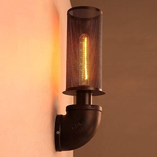 QTRT Lámpara De Pared Vintage Industrial 1 Luces Aceite Frotado Bronce Mini Jaula De Alambre Lámpara De Pared E27 Retro Creatividad Chimenea Lámpara De Tubo De Faro Lámpara De Iluminación For El Hogar