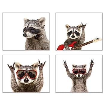 Rocker Raccoon Poster Prints - Set of 4  8x10  Cute Funny Guitar Music Animal Wall Art Decor