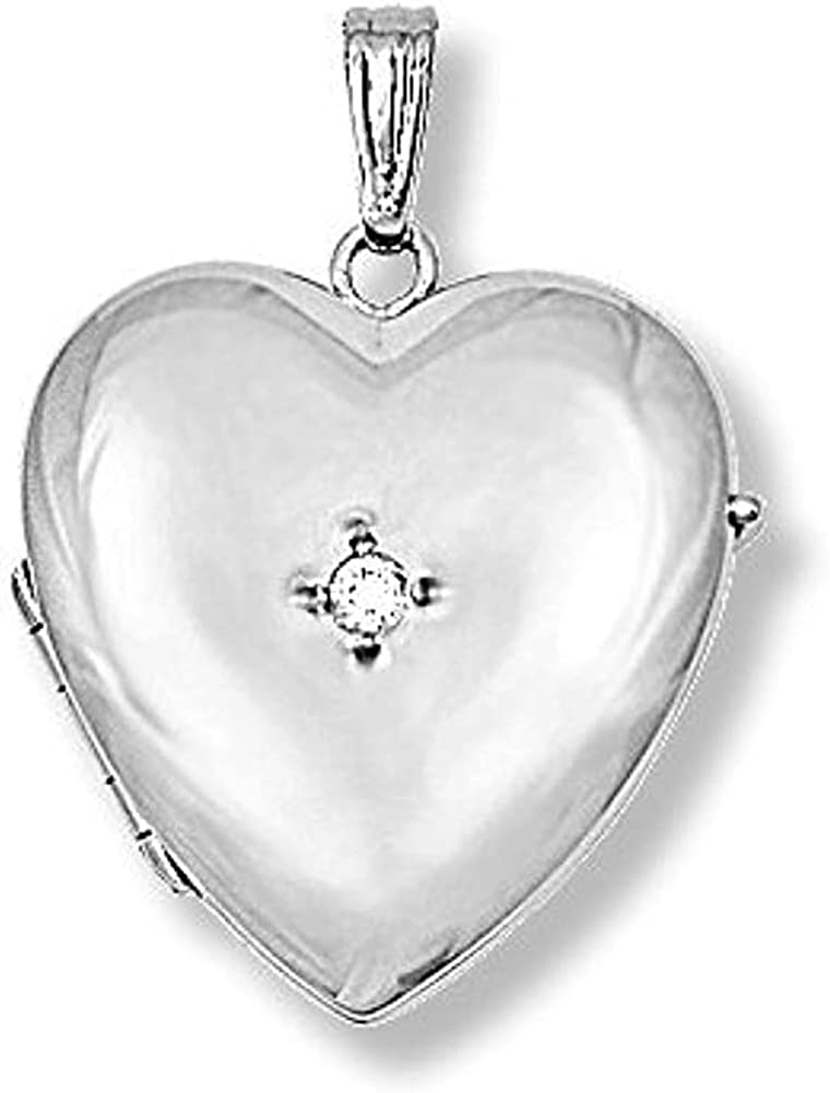 PicturesOnGold.com 14K White Gold Heart Four Photo Locket - 1 Inch X 1 Inch White Gold with Engraving