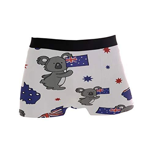 ZZKKO Koala Herren-Boxershorts, britische Flagge, atmungsaktiv, Stretch, mit Tasche, S-XL Gr. S, grau