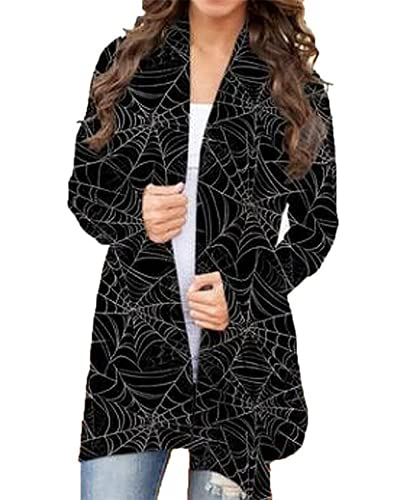 Runpigpink Halloween Mujeres de manga larga abierta frente cárdigan gato calabaza impresión gráfica suéteres overwear capa más tamaño otoño Outwear, Red de araña negra, L